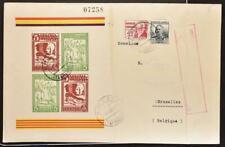 SPAIN to Belgium 1937 Civil WAR, VINEBRE Council Label Sheet on Cover to BELGIUM