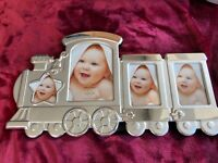 Lenox BABY TRAIN FRAME 4 Photo Silverplate Heirloom Shower Gift Engrave NEW