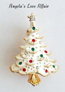 CHRISTMASY GOLD PLATED MULTI CRYSTAL WHITE ENAMEL XMAS CHRISTMAS TREE BROOCH PIN