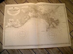 Vintage Admiralty Chart 1638 GULF OF MEXICO - MISSISSIPPI DELTA AREA 1917 edn