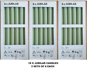 IKEA JUBILAR UNSCENTED 28cm height GREEN 18 CANDLES  /  3 PACKS OF 6 EACH new