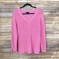 American Eagle Womens M V Neck Lace Up Sleeve Sweater Pink Rib Knit Pullover