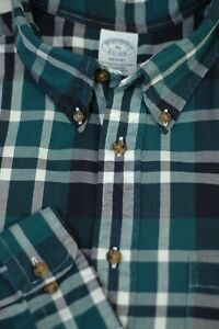 Brooks Brothers Men's Spruce Green White Check Casual Shirt XL XLarge