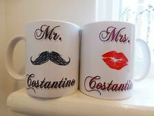 PAIR of Personalised Mr and Mrs WEDDING MUGS with your married name Bride Groom