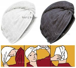 100% Pure Cotton Hair Wrap Head Towel Turbie Turban Twist Drying Button 500GMS