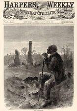 Old Black Slave Views a Burned Plantation - the Last Chattel Slave - 1866 Print