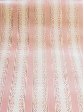 Vintage Lot Wallpaper Pink Floral Stripe 4 Double Rolls 288 Sq Feet! Mountville