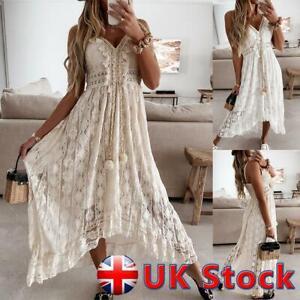 Womens Summer Lace V Neck Long Maxi Dress Boho Beach Holiday Cover up Sundress