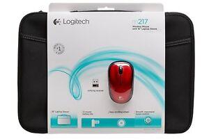 "Logitech Wireless Mouse M217 RED & 16"" Laptop Sleeve Bundle 910-002139"