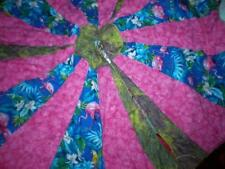 New Hand Made Tropical Quilted Pink Flamingo Christmas Tree Skirt 4.5 Ft Round