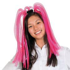 Childs Pink Glow Spaghetti Head Neon Light Up Hair Fancy Dress Accessory