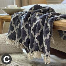 Luxury Dark Grey Beige Abstract Geometric ECO Cotton Soft Bed Sofa Blanket Throw