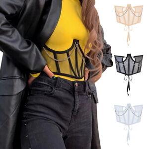 Womens Wide Waist Belt Lace Up Elastic Mesh Metal Corset Cinch Waistband Belt