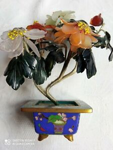 Cloisonne Pot With Soapstone Flowers