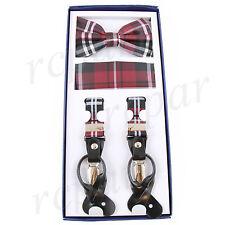 New Y back Men's Vesuvio Napoli Suspenders Bowtie Hankie Plaid Red Black