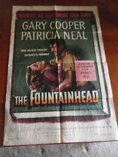 "Vintage ~ The Fountainhead Poster ~ 27"" X 41"" ~ Warner Bros 1949 ~ Gary Cooper"