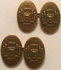 """1930'S KREMENTZ U.S. NAVAL ACADEMY""""EX SCIENTIA TRIDENS""""14K ROLLED GOLD CUFFLINKS"""