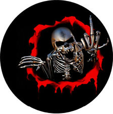 "#749 (1) 3"" Custom Finger Skull Decal Motorcycle Sticker Vinyl Black"