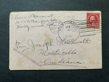 1931 LOS ANGELES -MONTICELLO INDIANA +MISSENT MONTICELLO CA NAPA DPO ! HOLLYWOOD