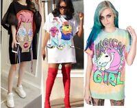 Womens Oversize Long T Shirt Graphic Pop Art Face Mini Dress Bell Sleeves Disney