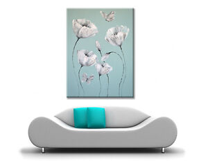 LARGE WHITE FLOWER BUTTERFLY PICTURE ZEN CANVAS WALL ART PRINT DUCK EGG BLUE NEW