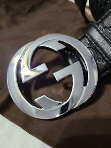 "NWT Authentic Gucci Belt Black Signature Monogam GG 95cm 32""-34"" Waist"