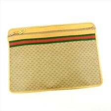 Gucci Document case G logos Beige Green Woman unisex Authentic Used T4599