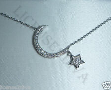 "STERLING SILVER MOON & STAR NECKLACE W/CUBIC ZIRCONIA! 18""/925! NEW! BOX! NEW!"