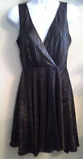 (NWT) Kim Kardashian Gorgeous Size X-Small Black & Gold Flecked Sleeveless Dress
