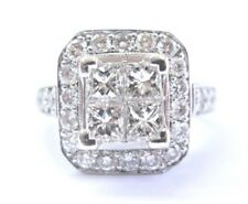 18Kt Princess & Round Cut Diamond White Gold Cluster Ring 2.41Ct F-VS2