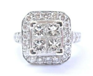 Princess & Round Cut Diamond Cluster Ring 18Kt White Gold 2.41Ct F-VS2