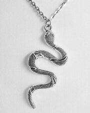 Silver Pewter Snake Serpent Serpentine Charm Necklace Pendant Amulet Animal