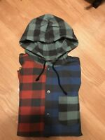 SUPREME HOODED BUFFALO PLAID FLANNEL SHIRT MULTICOLOR FW17 SIZE MEDIUM SCARFACE