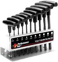 Performance Tool W80274 10 Pc SAE T-Handle Hex Key Set