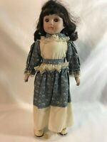 "16"" Vintage Porcelain Primitive Style Girl Doll Soft Body with Doll Stand"
