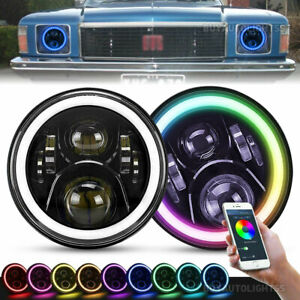 Pair 7inch Round LED Headlights w/ RGB DRL Bluetooth For Holden Kingswood Monaro