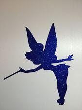 2 X Blue Tinkerbell Vinyl Sticker Decals, Tinkerbell Glitter Wine Glass, Laptop