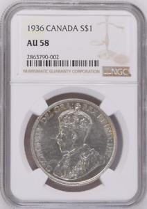 :1935 SILVER DOLLAR GEORGE-V S1$ CANADA KM# 30 LOW-POP NGC AU-58 HIGHEST-GRADES