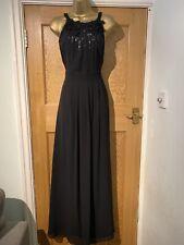 Coast Evening Dress Black Size 14 Full Length Sequin Lined Beaded Floaty