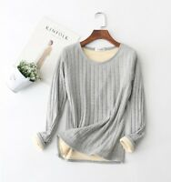 Women's Winter Warm Lined Thick Long Sleeve Shirt Slim Fit  Casual Tops Blouse