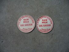 Lot of 2 New Old Earl Karlheim Dairy Milk Bottle Cap Flinton Pa Cambria County