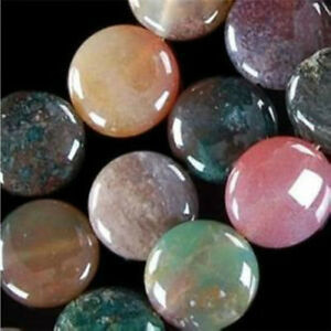 """12MM Multicolor RARE Agate Onyx Coin Loose Beads Gemstones 15""""      2pcs"""