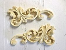 ANTIQUE ARCHITECTURAL SCROLLS (2) FURNITURE APPLIQUE-WOOD&RESIN-STAINABLE-NEW!