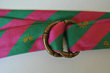 J CREW Pink Green bias Stripe Silk Brass D Ring belt S/M Tennis Jacquard preppy