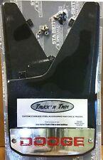 """Truck'N Trim stainless steel reflective Dodge mudflaps black 1pr 11""""x18"""""""