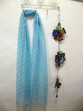 Jo Edwards Pale Blue White Spot 100% Linen Scarf Ethical Accessory Gift