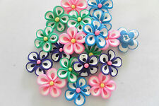 POLYMER CLAY FLOWER BEADS; 21mm in assorted colours, VALUE pack of 22pcs    #109