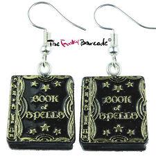 TFB - SPELL BOOK DANGLE EARRINGS Witch Wizard Fun Halloween Spooky Magic Funky
