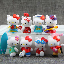 8pcs Hello Kitty Collectible Sports Version Figures Doll Kids Cake Topper 4CM