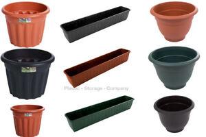 PLASTIC PLANT POTS - GARDEN - ROUND PLANTERS - ROUND - STRONG - TROUGHS - CHEAP